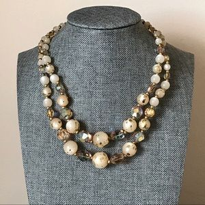 Mid Century Vintage Peach Moonglow AB Necklace